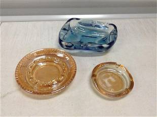 Lot of Irridescent and other vintage Ashtrays