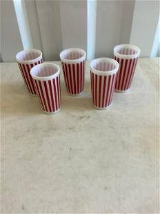 Unbranded red striped cup set 5 inch tall