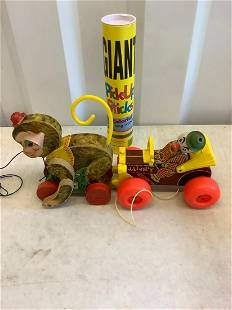 2 vintage fisher price pull toys and more