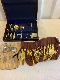 Large lot of gold plated and silver plated flatware