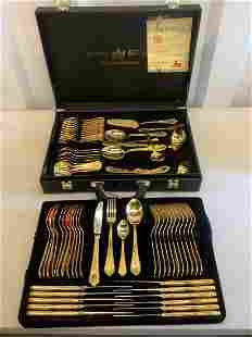 Large lot of SBS german made gold plated utensils