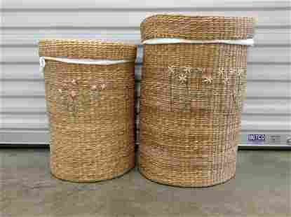 Set of Nesting Baskets with Linen Laundry bag inserts