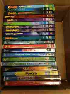 Box full of Disney and other DVDs
