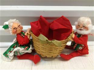 """Anna Lee Mr. & Mrs. Claus with Basket 10"""""""