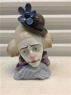 """Lladro Sad Clown Bust 11""""x8.5"""""""