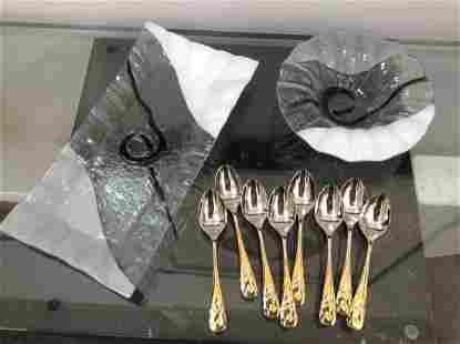 Yamazaki Dessert Spoons and Two Art Glass Platters