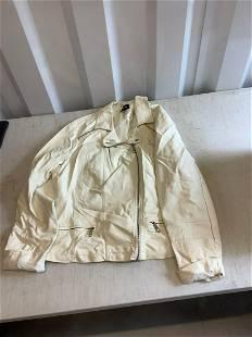 Joe Boxer white leather jacket XL
