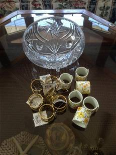 Crystal Bowl and vintage and new napkin rings