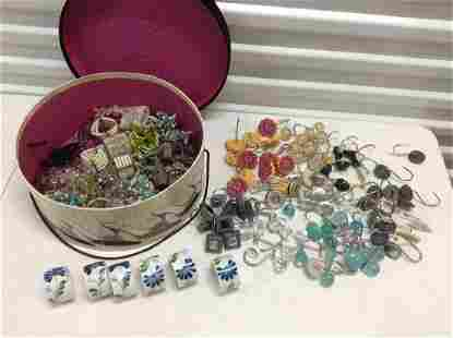 Hat Box full of Napkin Rings and Large lot of
