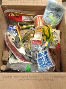 Box of fishing tackle & Sinkers