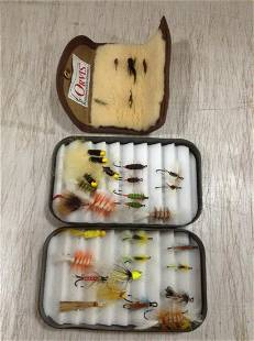 C.F. Orvis Box & Pouch full of Fly Fishing Lures