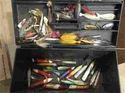 Toolbox full of vintage Wood and other fishing lures