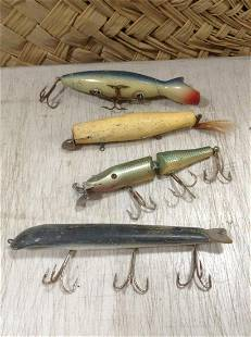 """Lot of Vintage Large wooden fishing lures largest 9"""""""