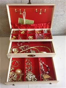 Lot of costume jewelry with box