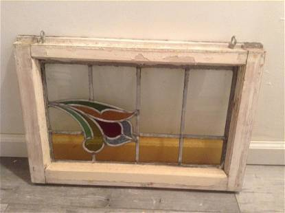 """Early Stained Glass Window from Holland 24""""x16""""x2"""""""