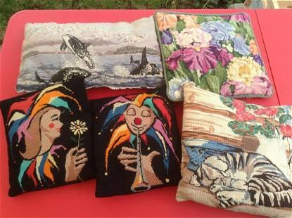 Lot of Vintage Needlework Pillows