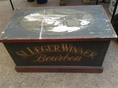 "St. Leger Winner Bourbon Painted Wood Trunk 32""x18""x18"""