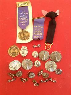 Large lot of Fire Department Pins, Buttons and more