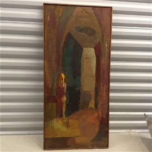 Mid Century original oil on canvas unknown artist 39x18