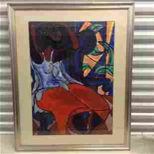 Original abstract watercolor painting signed Unknown