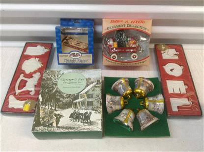 Radio Flyer, woolworth & Currier & Ives ornaments in