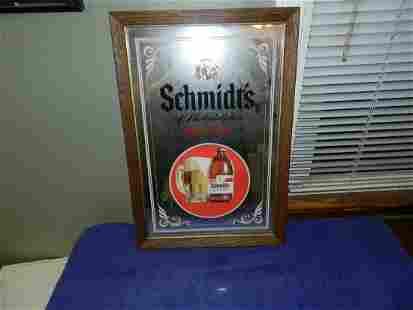 Vintage Schmidt's Philly Light Beer Bar Mirror 20 x 13