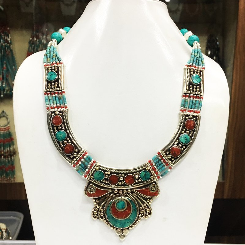 Tibetan Buddhist Turquoise & Coral Vintage Necklace