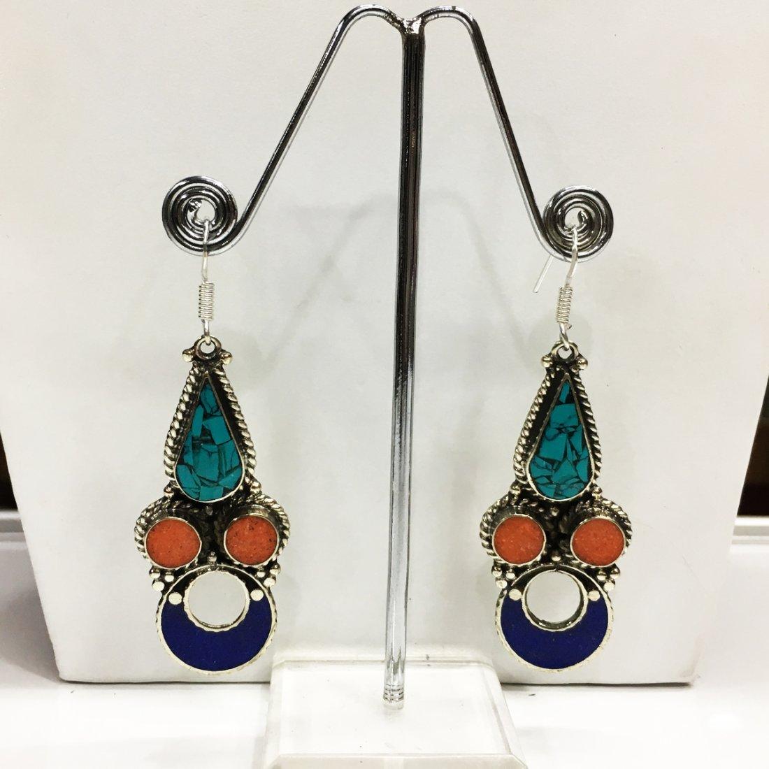 Ethnic Asian Real Turquoise Tibetan Coral Earring