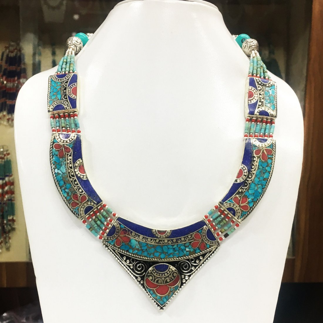 Boho Handmade Turquoise & Coral Necklace