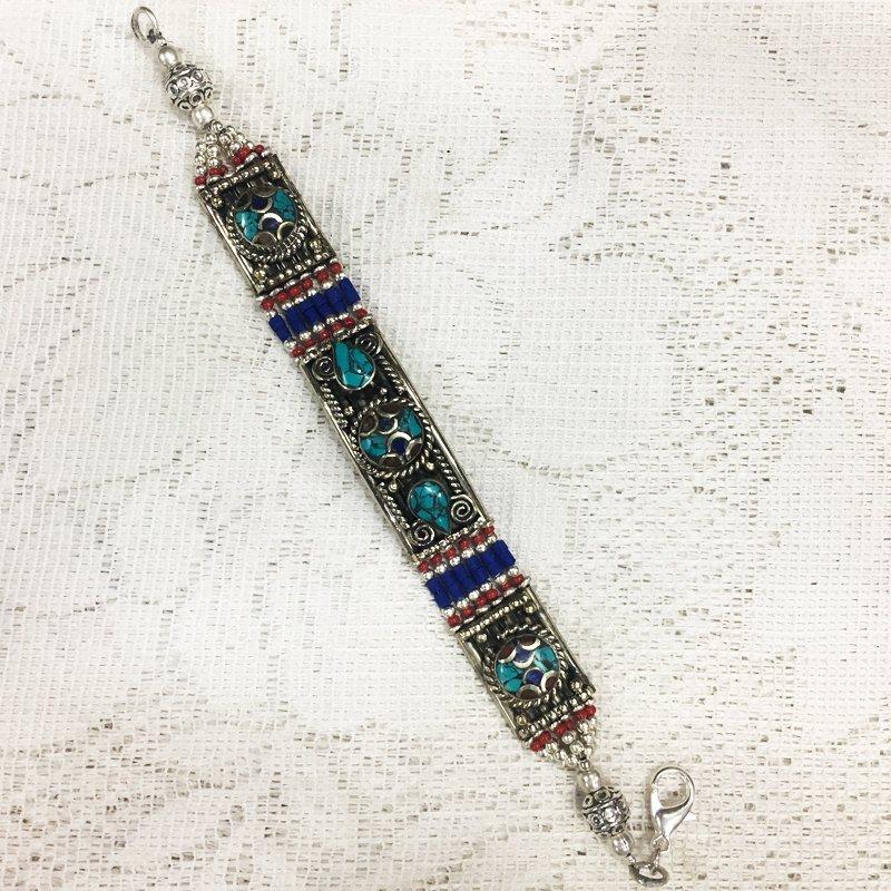 Lapis & Coral Vintage Tibetan Nepali Bracelet