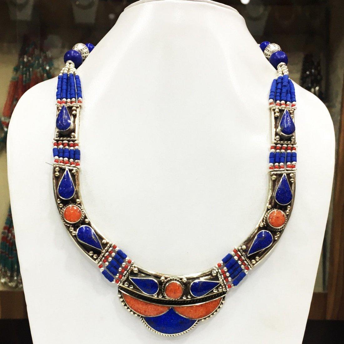 Exclusive Design - Lapis & Coral Tibetan Necklace
