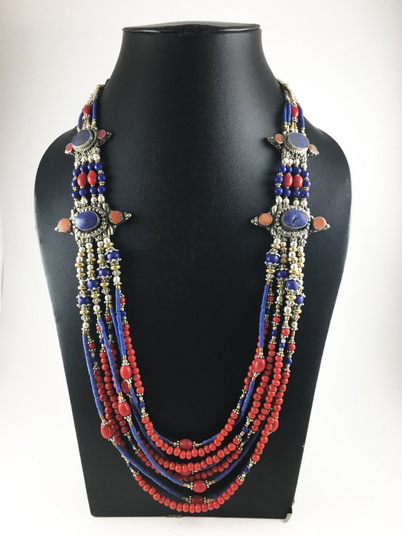 Natural Tibetan Coral & Lapis Beautiful Necklace
