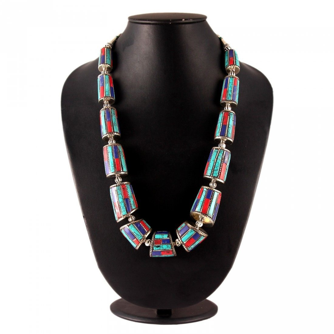 Turquoise, Coral & Lapis Lazuli Handmade Necklace