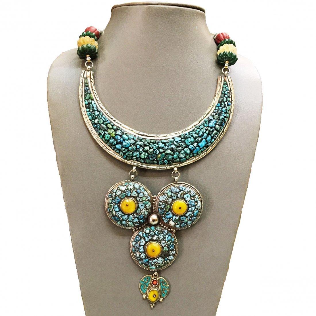 Turquoise & Amber Antique Boho Bold Handmade Necklace