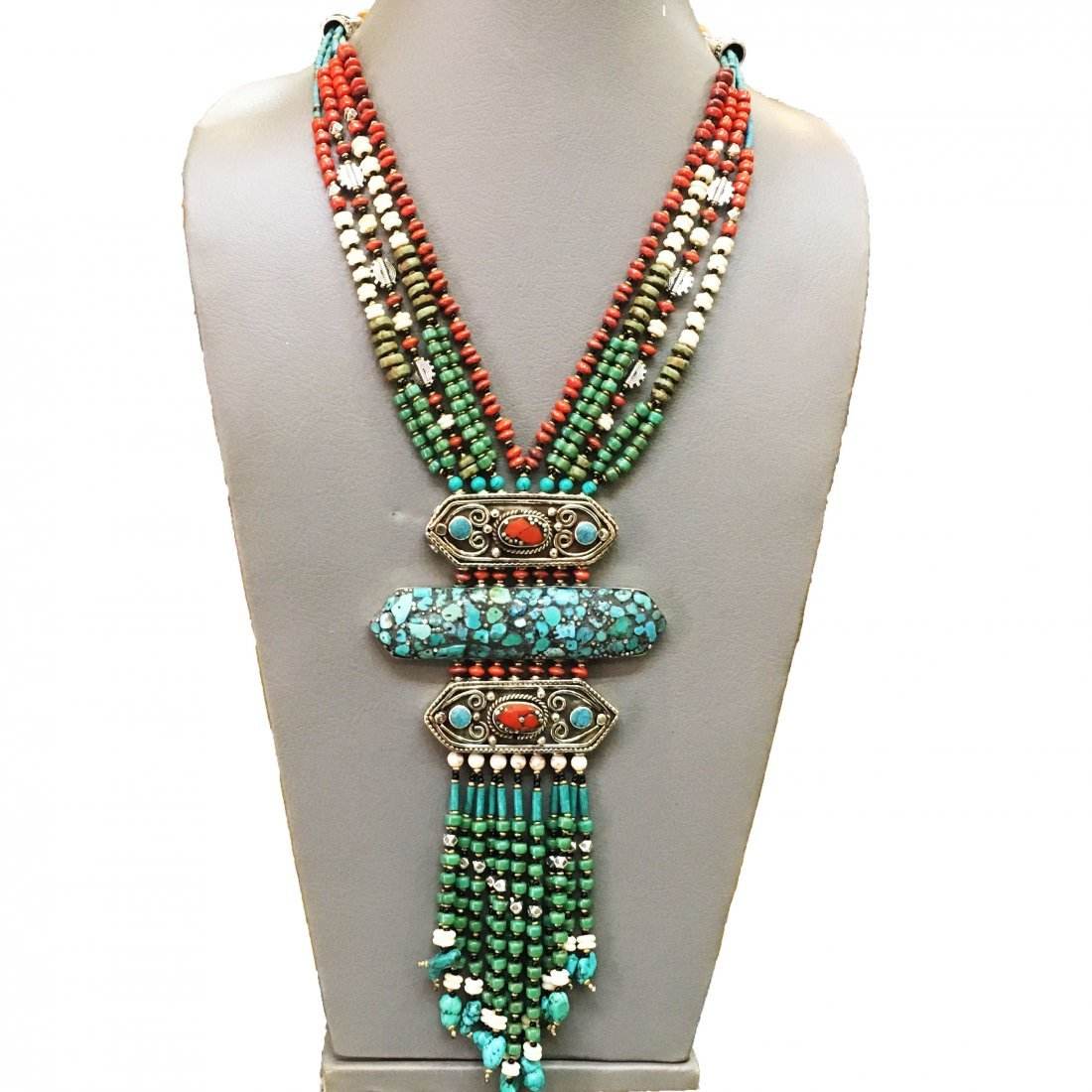 Turquoise & Coral Antique Boho Bold Handmade Necklace