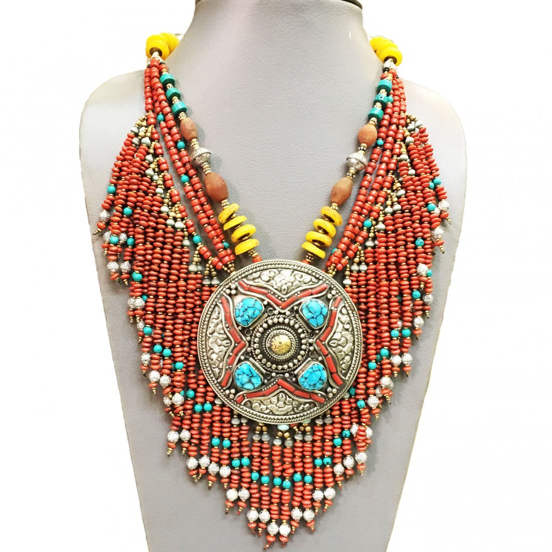 Tibetan Red Coral & Turquoise Handmade Bold Necklace