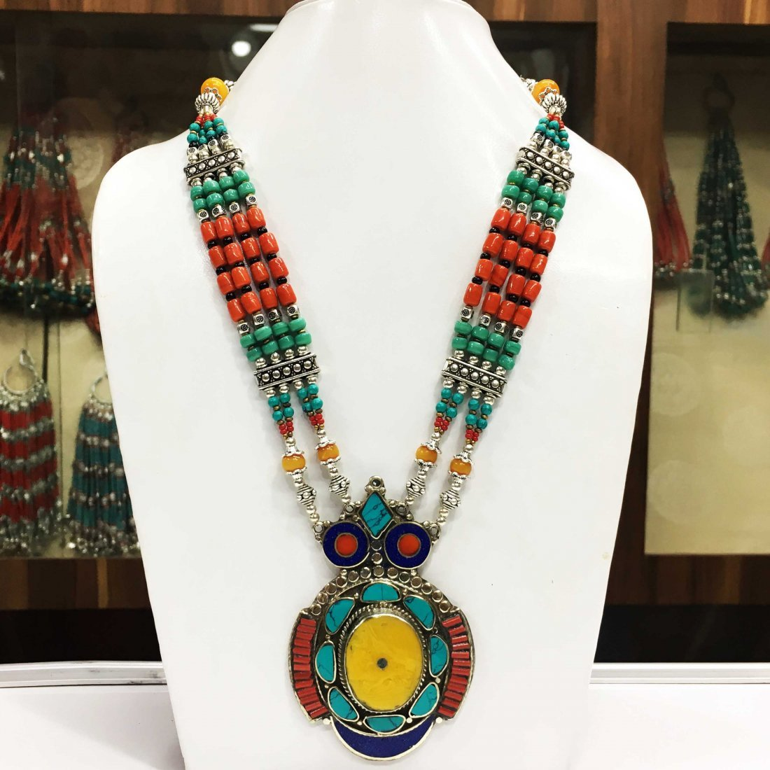 Bohemian Turquoise & Coral vintage Necklace