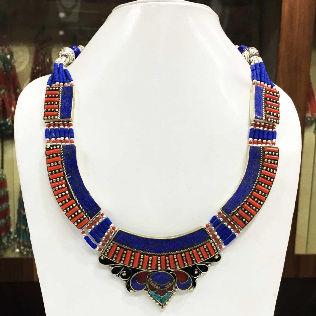 Coral & Lapis Handmade Antique Necklace