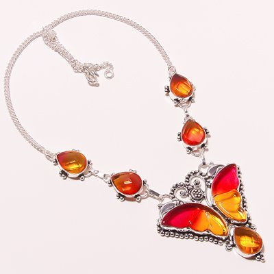 Citrine quartz Silver handmade butterfly Necklace