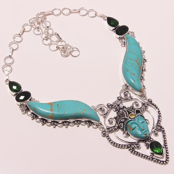 Emerald quartz Silver handmade Turquoise Face Necklace