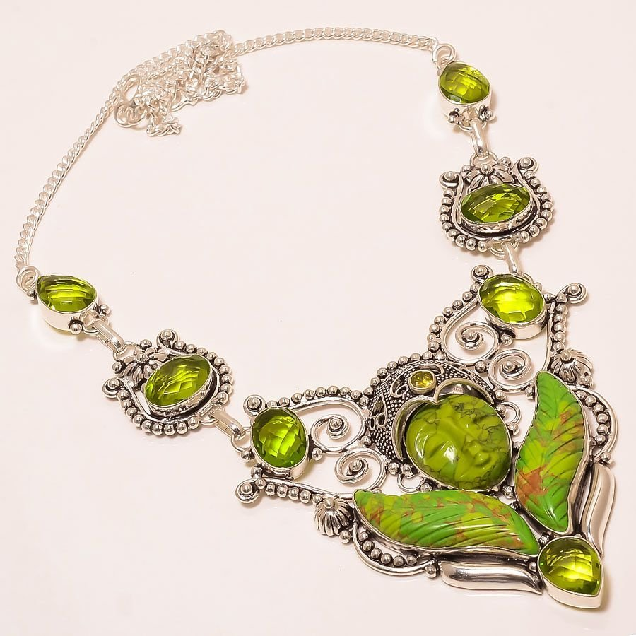 Peridot Silver hand-carving Praying lady Necklace