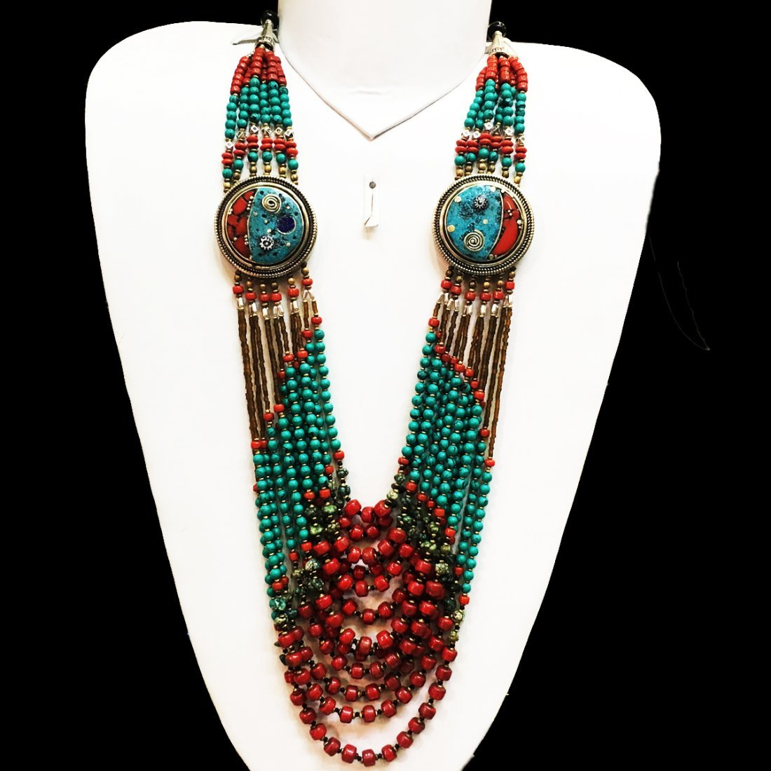 Green Turquoise & Coral Tibetan Handmade Necklace