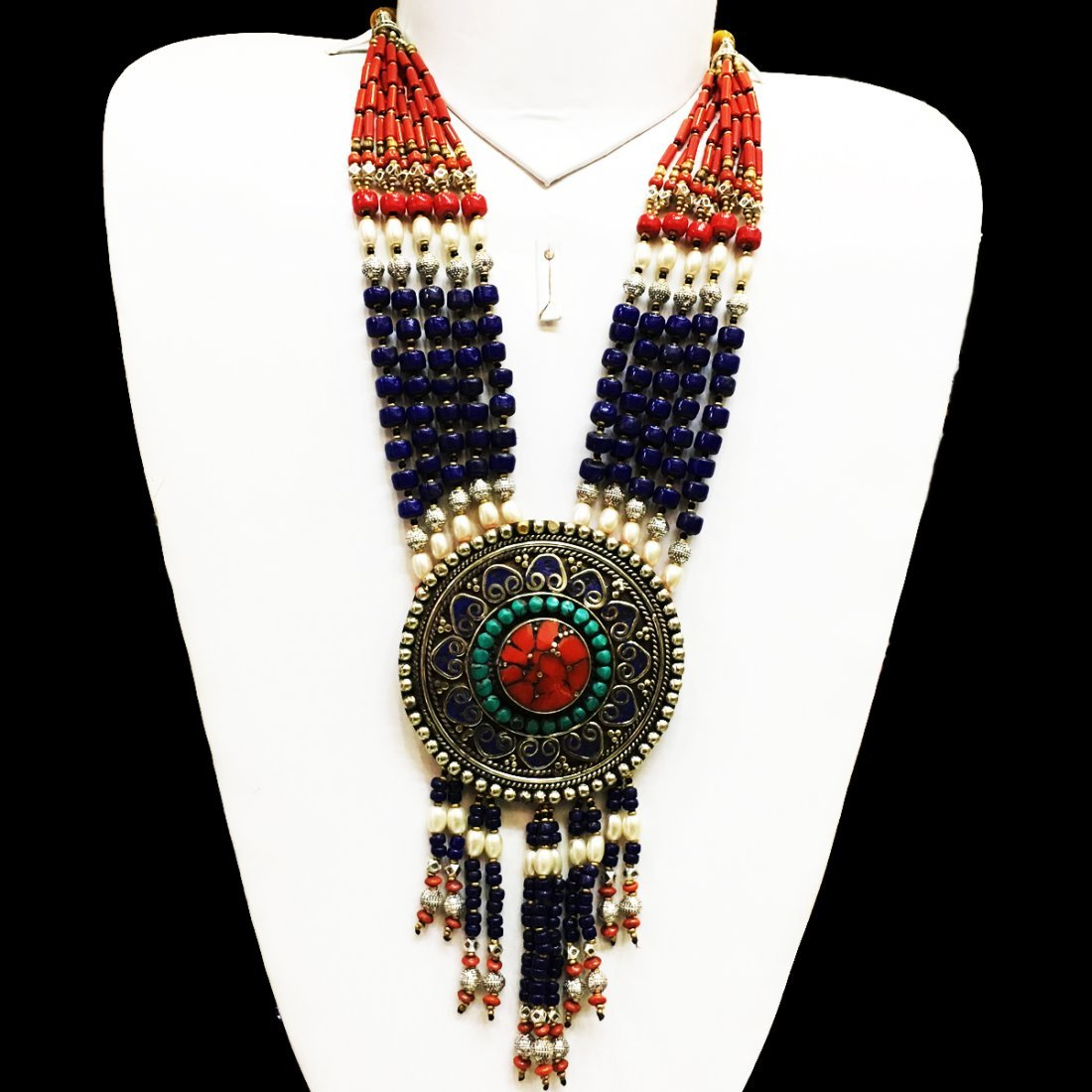 Traditional Tibetan Lapis with Coral Necklace