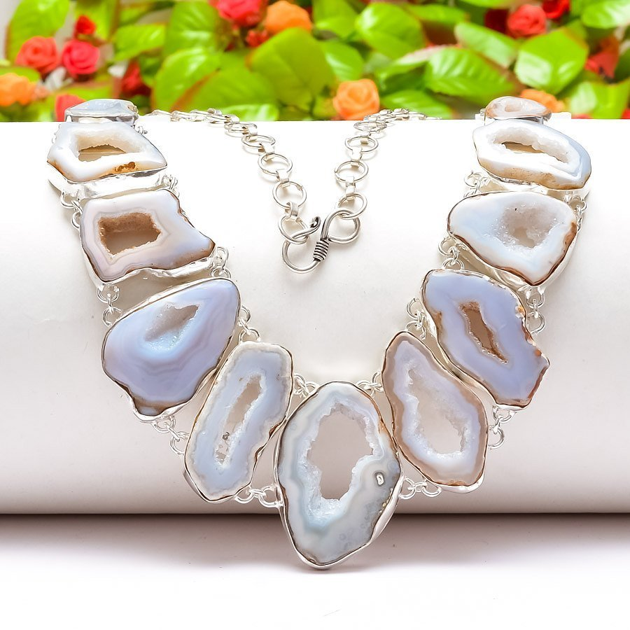 Handmade Silver plated Druzy Necklace