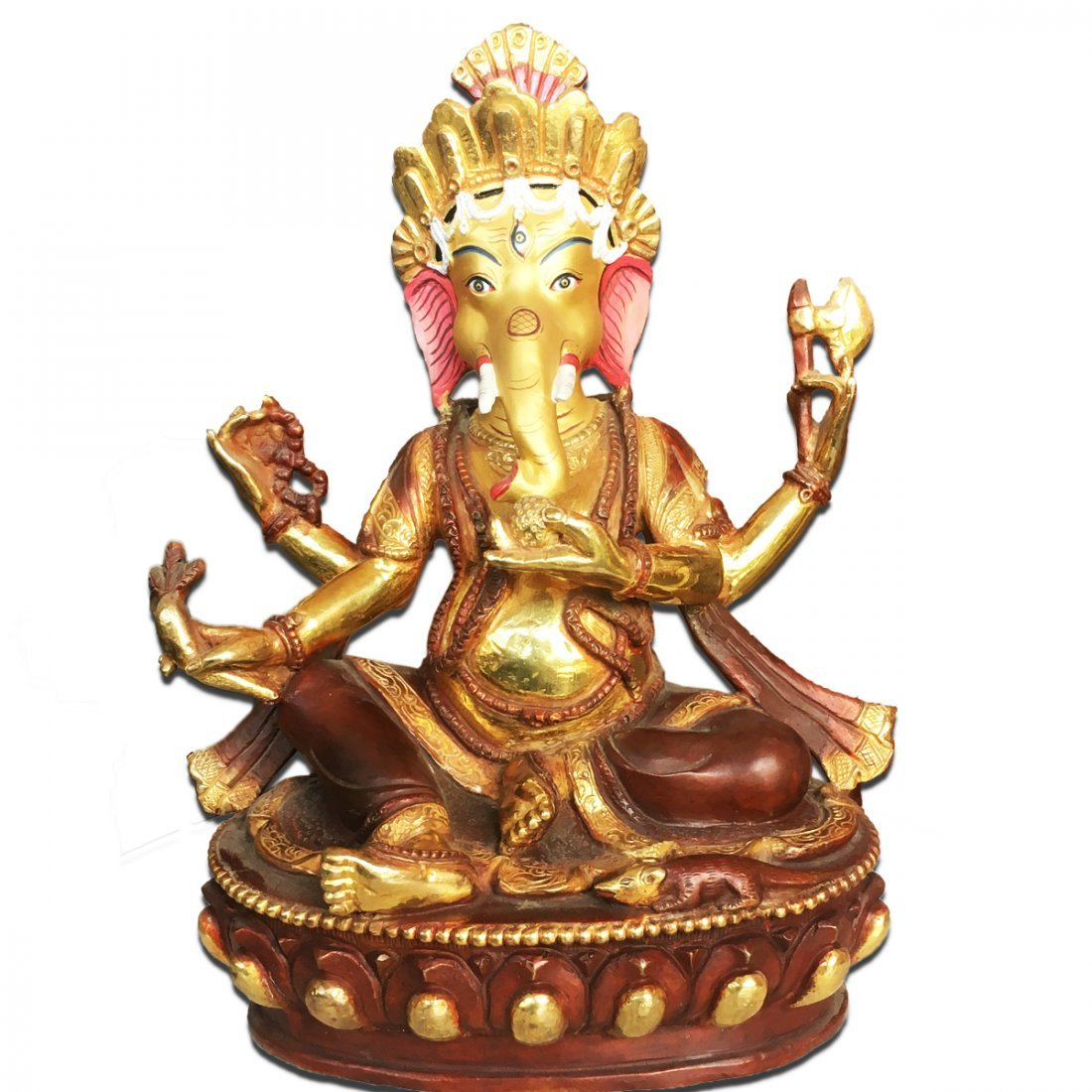 "8"" Old Tibet Buddhism 24 Carat Gold Coated Ganesha"