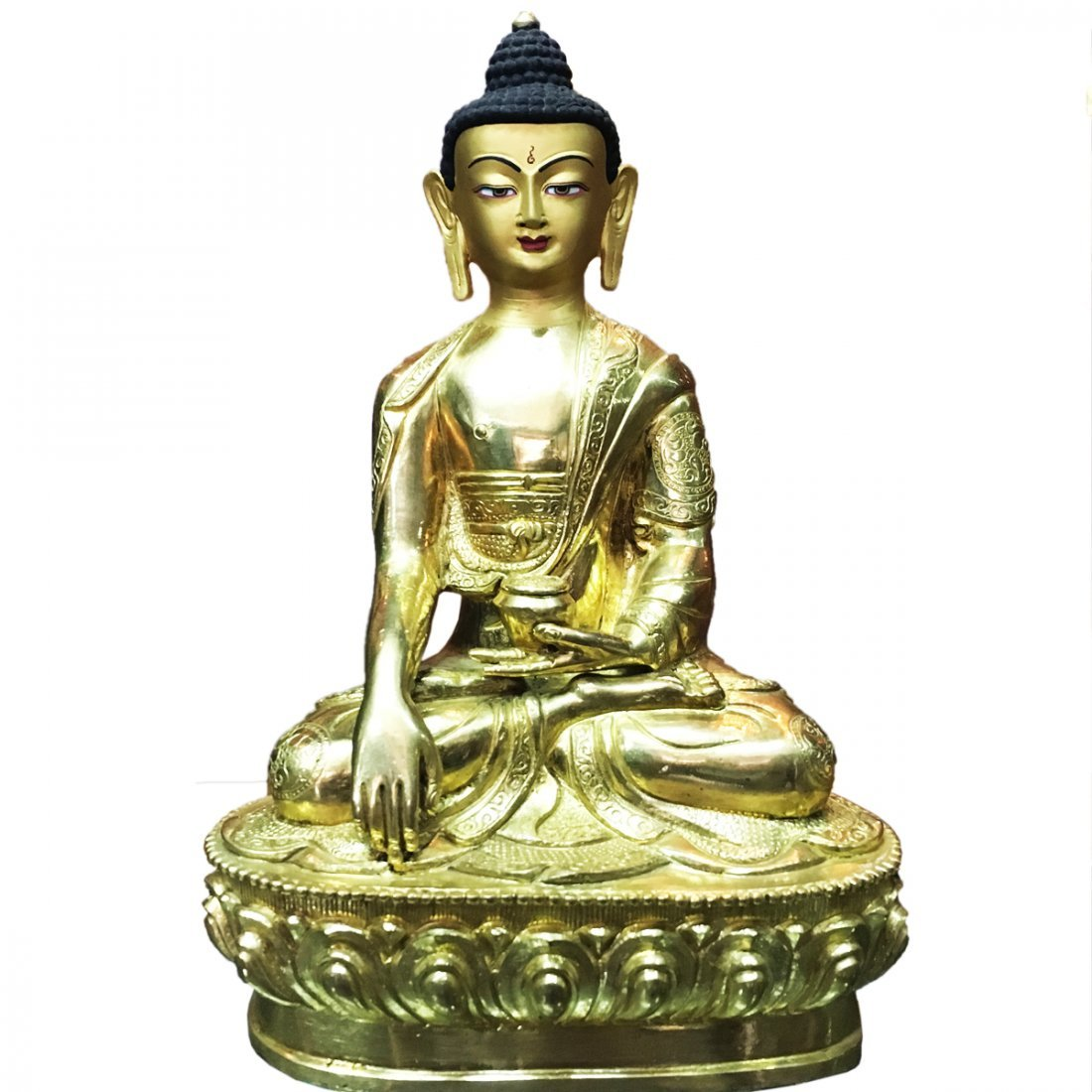 "Old 24 Carat Gold Hand Carved Buddha 8"" Statue"