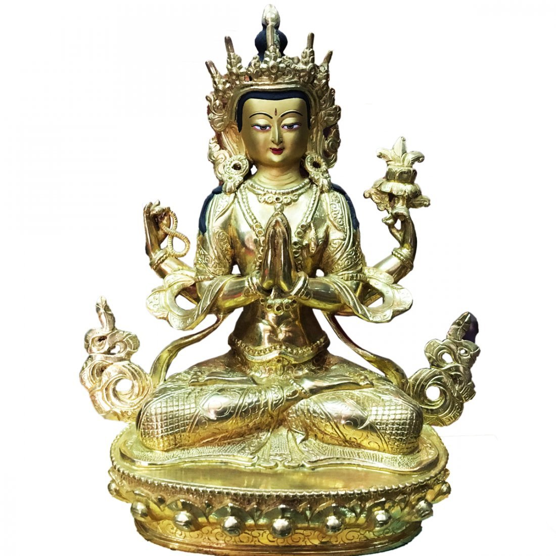 "Lokeshwor 8"" Statue - Old with 24 Carat Pure Gold"