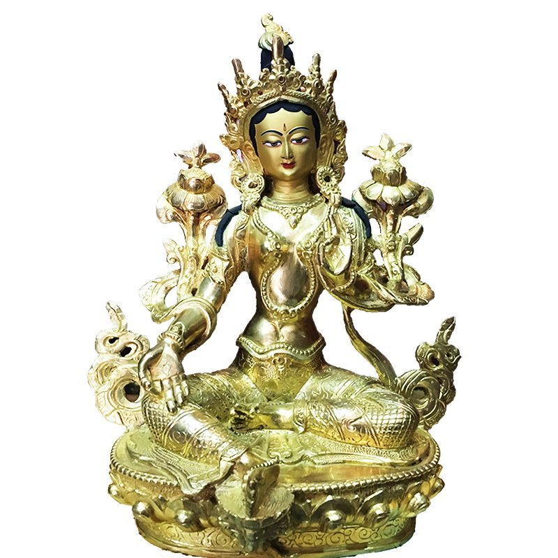"Tibet Buddhism Green Tara Gold Coated Old 8"" statue"