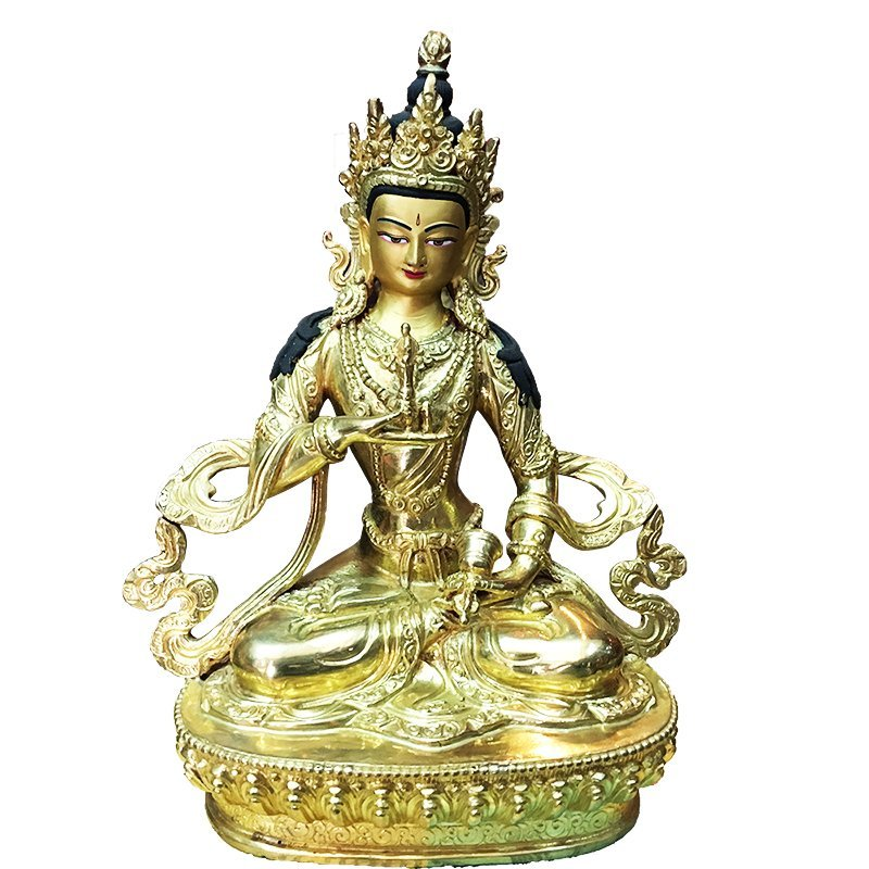 "Vajrasattva Dorje Gold Plated in side Copper 8"" Statue"