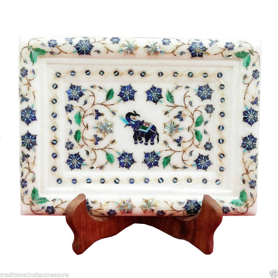 "Size 14""x10"" Marble Serving Tray Plate Malachite"